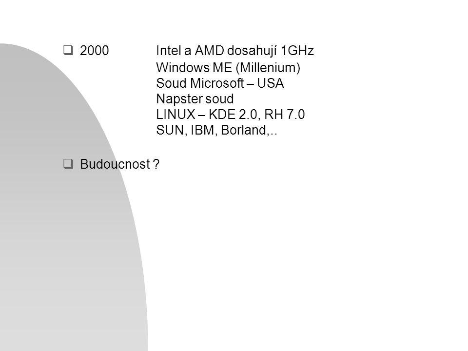  2000Intel a AMD dosahují 1GHz Windows ME (Millenium) Soud Microsoft – USA Napster soud LINUX – KDE 2.0, RH 7.0 SUN, IBM, Borland,..