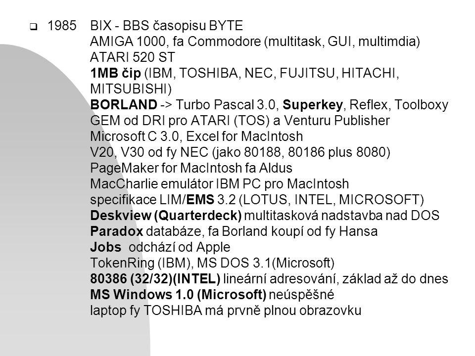  1985BIX - BBS časopisu BYTE AMIGA 1000, fa Commodore (multitask, GUI, multimdia) ATARI 520 ST 1MB čip (IBM, TOSHIBA, NEC, FUJITSU, HITACHI, MITSUBISHI) BORLAND -> Turbo Pascal 3.0, Superkey, Reflex, Toolboxy GEM od DRI pro ATARI (TOS) a Venturu Publisher Microsoft C 3.0, Excel for MacIntosh V20, V30 od fy NEC (jako 80188, 80186 plus 8080) PageMaker for MacIntosh fa Aldus MacCharlie emulátor IBM PC pro MacIntosh specifikace LIM/EMS 3.2 (LOTUS, INTEL, MICROSOFT) Deskview (Quarterdeck) multitasková nadstavba nad DOS Paradox databáze, fa Borland koupí od fy Hansa Jobs odchází od Apple TokenRing (IBM), MS DOS 3.1(Microsoft) 80386 (32/32)(INTEL) lineární adresování, základ až do dnes MS Windows 1.0 (Microsoft) neúspěšné laptop fy TOSHIBA má prvně plnou obrazovku
