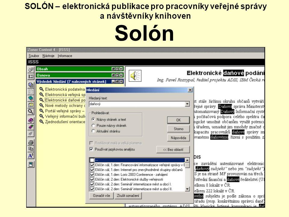 SOLÓN – elektronická publikace pro pracovníky veřejné správy a návštěvníky knihoven Solón