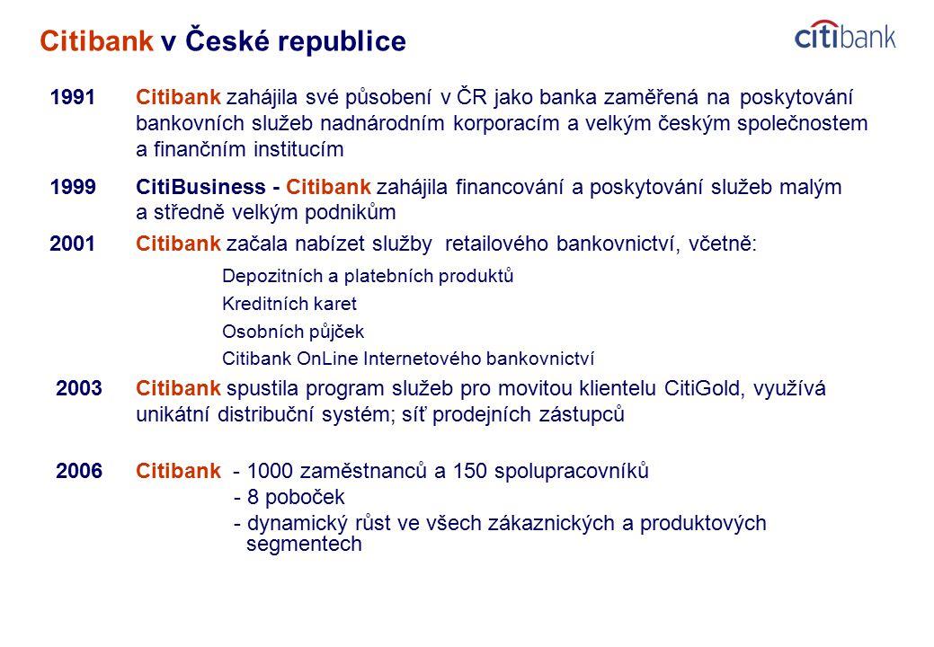 Citibank v České republice 1991Citibank zahájila své působení v ČR jako banka zaměřená na poskytování bankovních služeb nadnárodním korporacím a velkým českým společnostem a finančním institucím 1999CitiBusiness - Citibank zahájila financování a poskytování služeb malým a středně velkým podnikům 2001Citibank začala nabízet služby retailového bankovnictví, včetně: Depozitních a platebních produktů Kreditních karet Osobních půjček Citibank OnLine Internetového bankovnictví 2003Citibank spustila program služeb pro movitou klientelu CitiGold, využívá unikátní distribuční systém; síť prodejních zástupců 2006Citibank - 1000 zaměstnanců a 150 spolupracovníků - 8 poboček - dynamický růst ve všech zákaznických a produktových segmentech