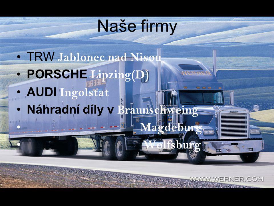Naše firmy TRW Jablonec nad Nisou PORSCHE Lipzing(D) AUDI Ingolstat Náhradní díly v Braunschweing Magdeburg Wolfsburg