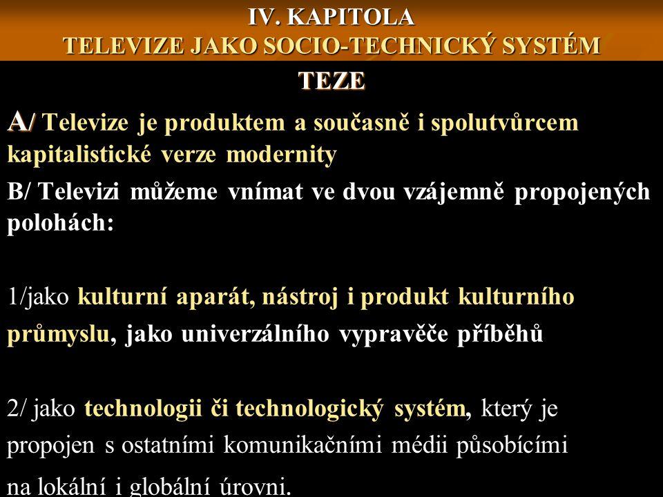 IV. KAPITOLA TELEVIZE JAKO SOCIO-TECHNICKÝ SYSTÉM TEZE A / A / Televize je produktem a současně i spolutvůrcem kapitalistické verze modernity B/ Telev