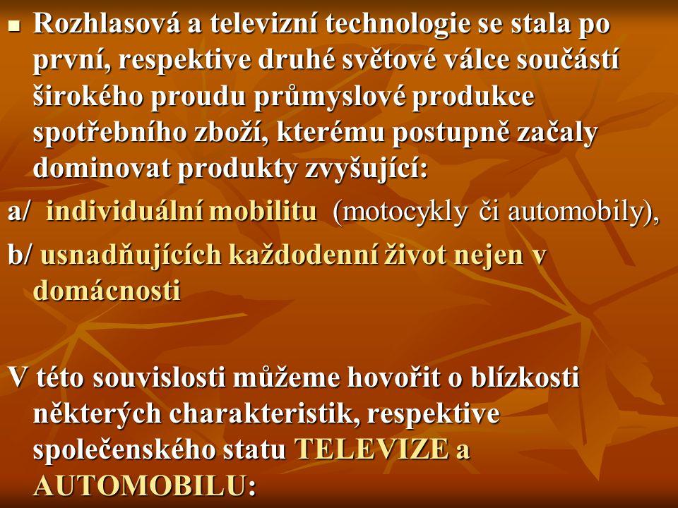 Rozhlasová a televizní technologie se stala po první, respektive druhé světové válce součástí širokého proudu průmyslové produkce spotřebního zboží, k