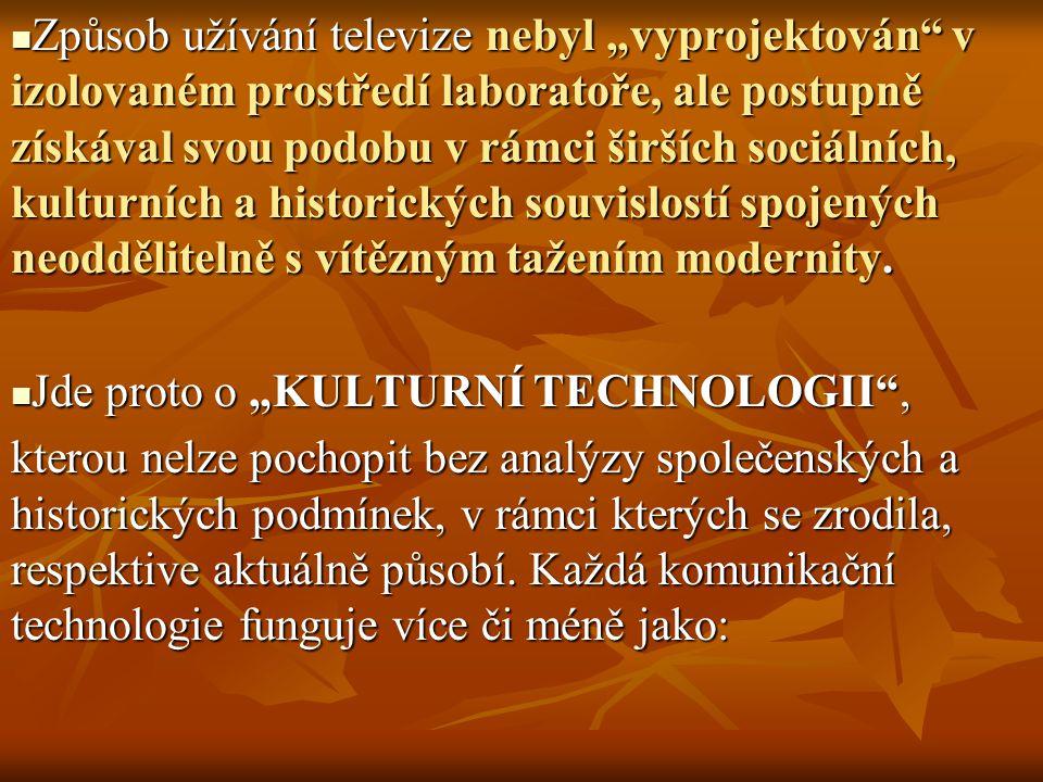 PRÚBĚH VLASTNICTVÍ ČERNOBÍLÉHO/BAREVNÉHO TV V USA 1946-1967 (v stotisících) ČERNOBÍLÉ BAREVNÉ ČERNOBÍLÉ BAREVNÉ 1946 8000 TV 1967 12 700 000TV 1946 8000 TV 1967 12 700 000TV 1967 81 500 000TV 1967 81 500 000TV Proces postupného přijímání TV jako nové technologie(inovace) má povahu tzv.
