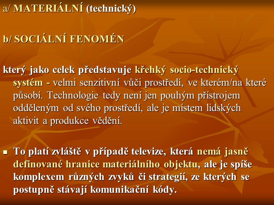 Televize jako ostatní informační technologie v sobě nese dvě sady významů: Televize jako ostatní informační technologie v sobě nese dvě sady významů: 1/ ty, které jsou více méně intencionálně konstruovány jejich producenty, respektive konzumenty v procesu prodeje a vlastního užívání, 2/ ty, jež vznikají jako důsledek její potenciální otevřenosti jak v hardwarové, tak i softwarové- programové oblasti.