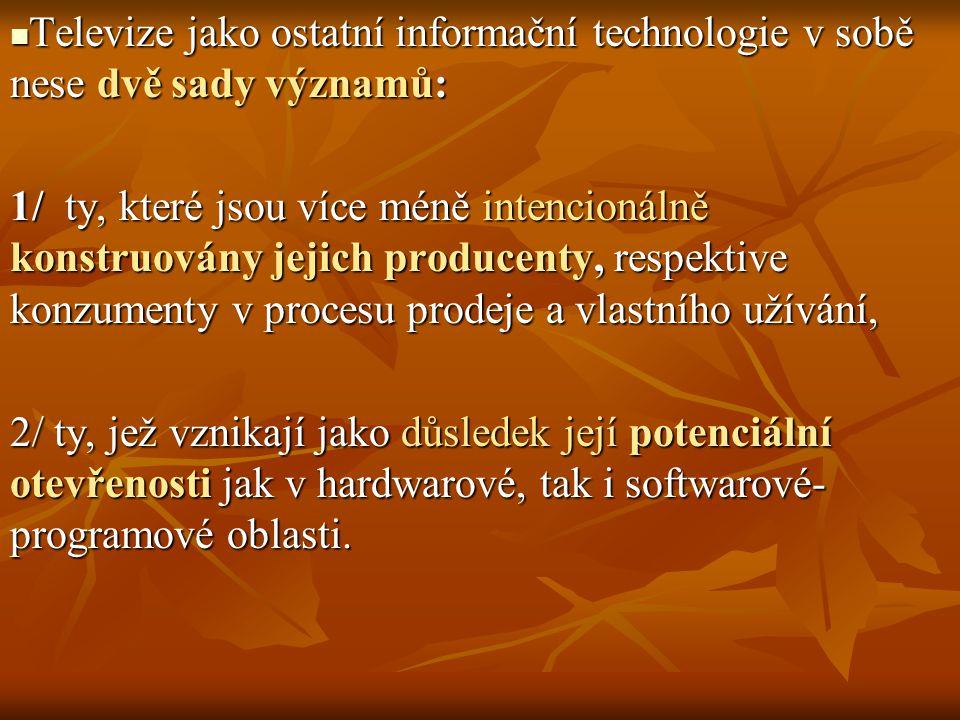 Rozhlasová a televizní technologie se stala po první, respektive druhé světové válce součástí širokého proudu průmyslové produkce spotřebního zboží, kterému postupně začaly dominovat produkty zvyšující: Rozhlasová a televizní technologie se stala po první, respektive druhé světové válce součástí širokého proudu průmyslové produkce spotřebního zboží, kterému postupně začaly dominovat produkty zvyšující: a/ individuální mobilitu (motocykly či automobily), b/ usnadňujících každodenní život nejen v domácnosti V této souvislosti můžeme hovořit o blízkosti některých charakteristik, respektive společenského statu TELEVIZE a AUTOMOBILU: