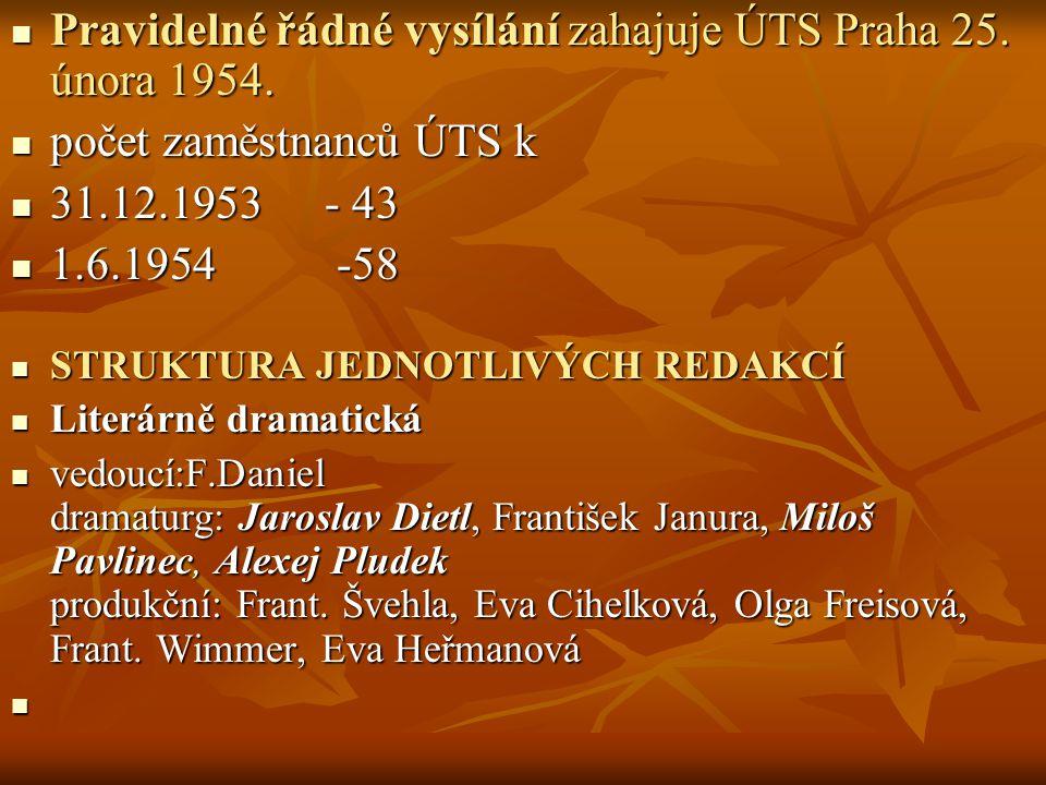 Pravidelné řádné vysílání zahajuje ÚTS Praha 25. února 1954. Pravidelné řádné vysílání zahajuje ÚTS Praha 25. února 1954. počet zaměstnanců ÚTS k poče