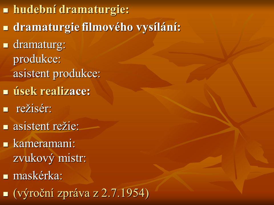 hudební dramaturgie: hudební dramaturgie: dramaturgie filmového vysílání: dramaturgie filmového vysílání: dramaturg: produkce: asistent produkce: dram
