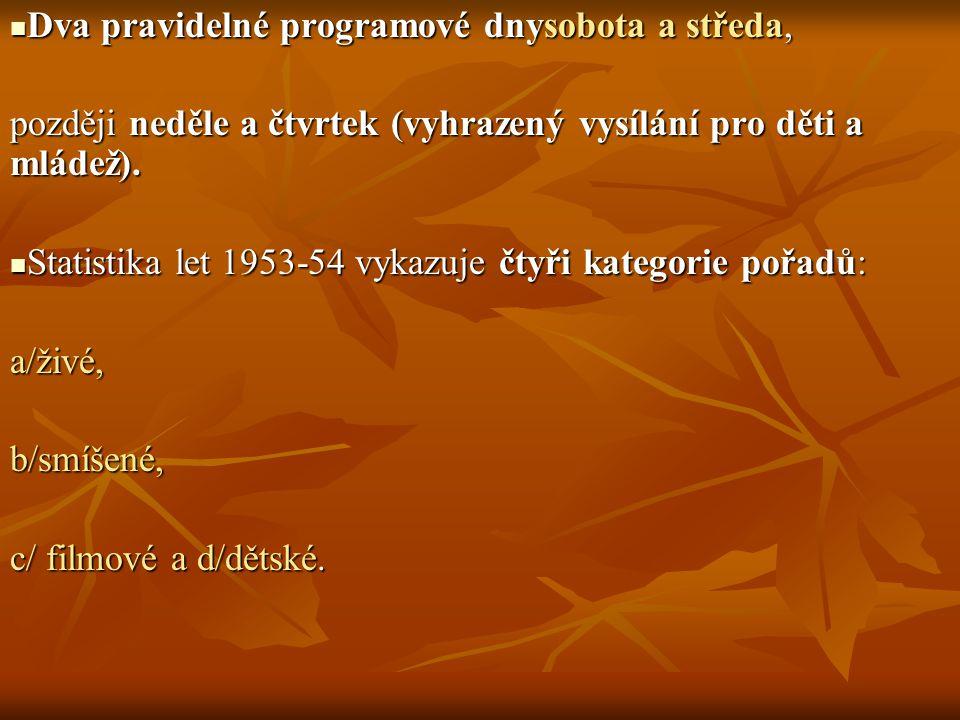 Dva pravidelné programové dnysobota a středa, Dva pravidelné programové dnysobota a středa, později neděle a čtvrtek (vyhrazený vysílání pro děti a ml