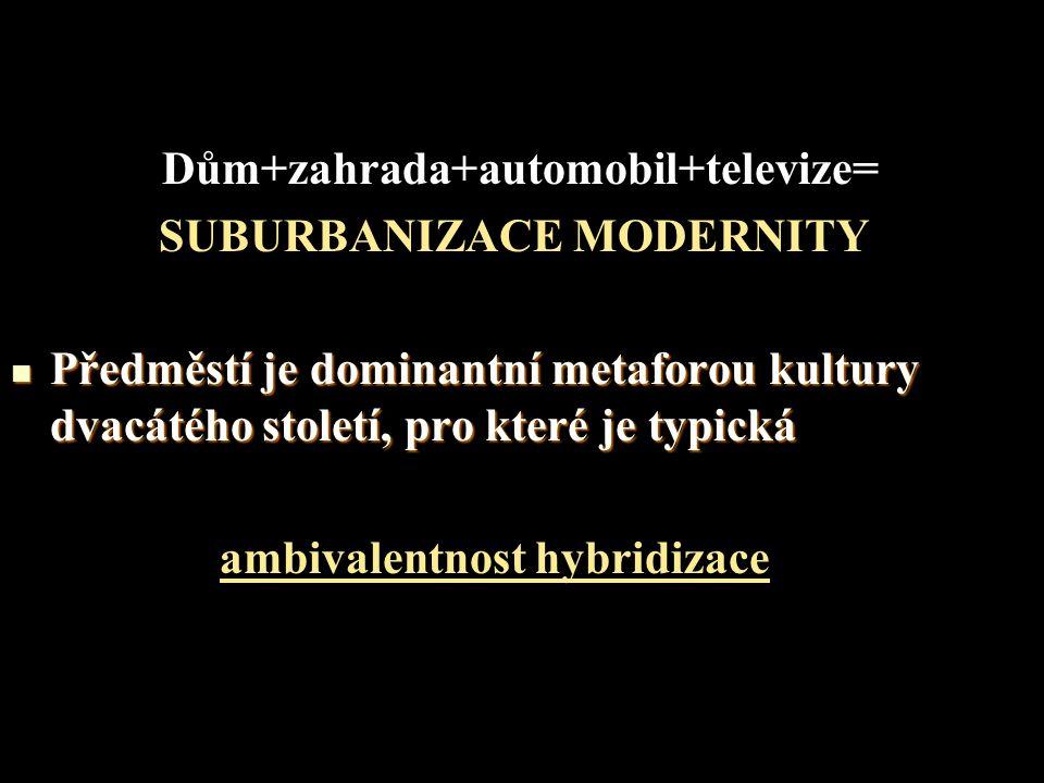 Dům+zahrada+automobil+televize= SUBURBANIZACE MODERNITY Předměstí je dominantní metaforou kultury dvacátého století, pro které je typická Předměstí je dominantní metaforou kultury dvacátého století, pro které je typická ambivalentnost hybridizace