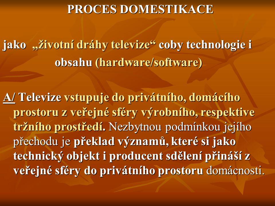 """PROCES DOMESTIKACE PROCES DOMESTIKACE jako """"životní dráhy televize coby technologie i obsahu (hardware/software) obsahu (hardware/software) A/ Televize vstupuje do privátního, domácího prostoru z veřejné sféry výrobního, respektive tržního prostředí."""