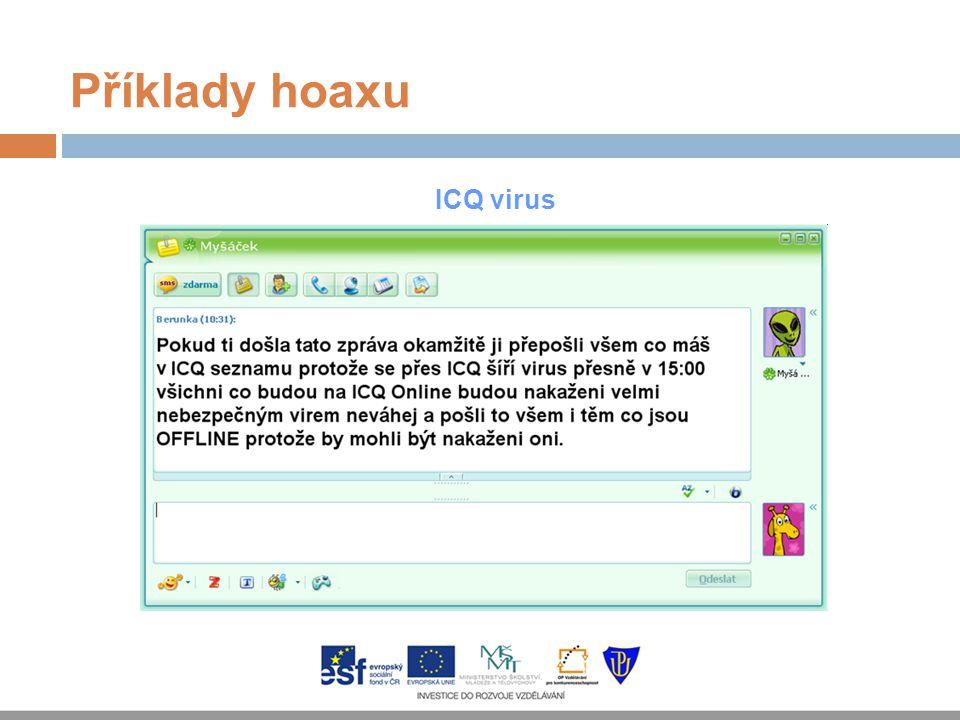 Příklady hoaxu ICQ virus