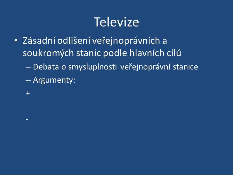 Televize Zásadní odlišení veřejnoprávních a soukromých stanic podle hlavních cílů – Debata o smysluplnosti veřejnoprávní stanice – Argumenty: + -