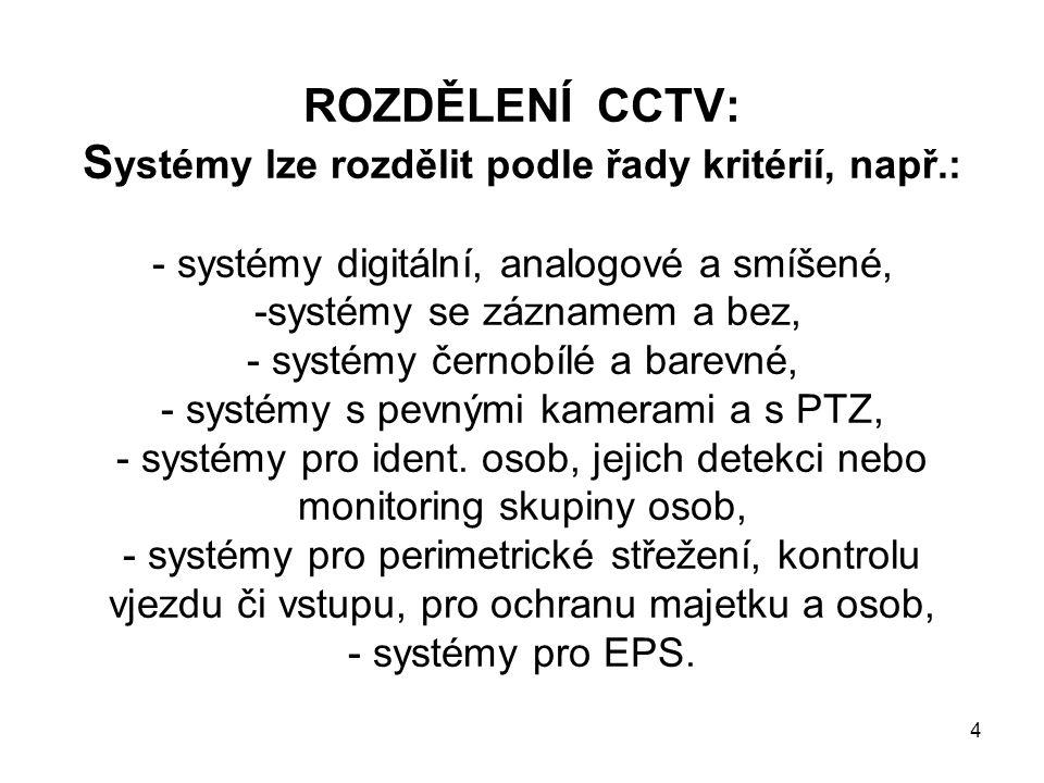 ROZDĚLENÍ CCTV: S ystémy lze rozdělit podle řady kritérií, např.: - systémy digitální, analogové a smíšené, -systémy se záznamem a bez, - systémy černobílé a barevné, - systémy s pevnými kamerami a s PTZ, - systémy pro ident.