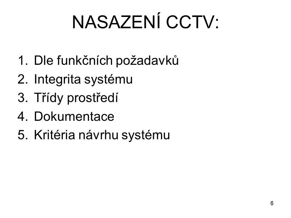 NASAZENÍ CCTV: 1.Dle funkčních požadavků 2.Integrita systému 3.Třídy prostředí 4.Dokumentace 5.Kritéria návrhu systému 6