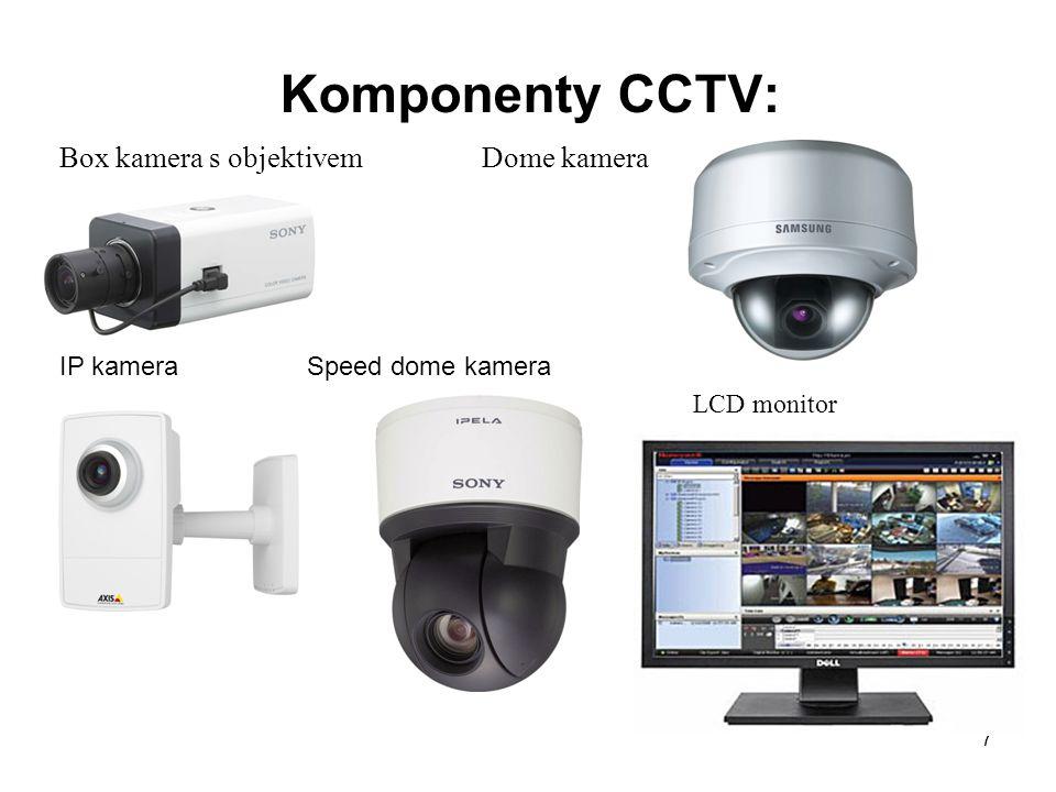 Komponenty CCTV: Box kamera s objektivemDome kamera IP kamera Speed dome kamera LCD monitor 7