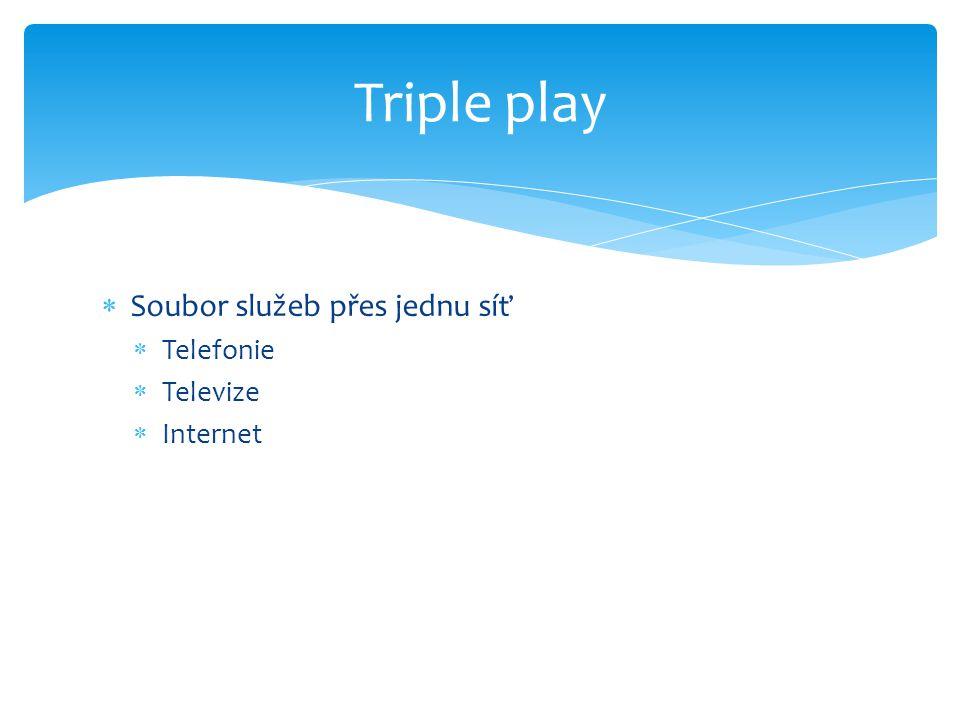  Soubor služeb přes jednu síť  Telefonie  Televize  Internet Triple play