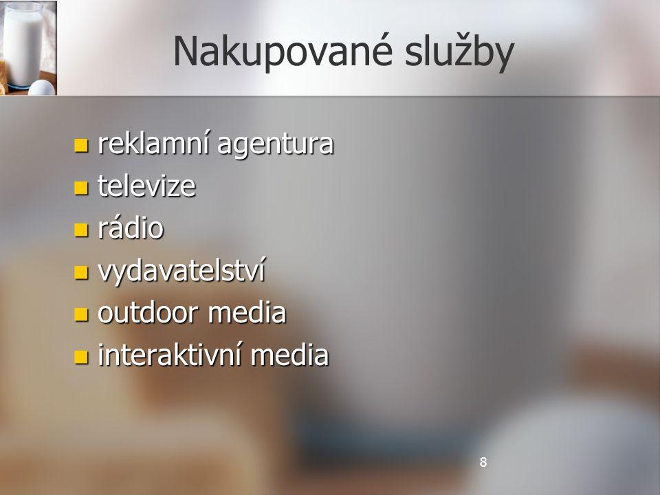 Nakupované služby reklamní agentura reklamní agentura televize televize rádio rádio vydavatelství vydavatelství outdoor media outdoor media interaktivní media interaktivní media 8