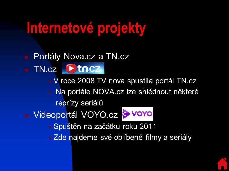 Internetové projekty Portály Nova.cz a TN.cz TN.cz  V roce 2008 TV nova spustila portál TN.cz  Na portále NOVA.cz lze shlédnout některé reprízy seriálů Videoportál VOYO.cz  Spuštěn na začátku roku 2011  Zde najdeme své oblíbené filmy a seriály