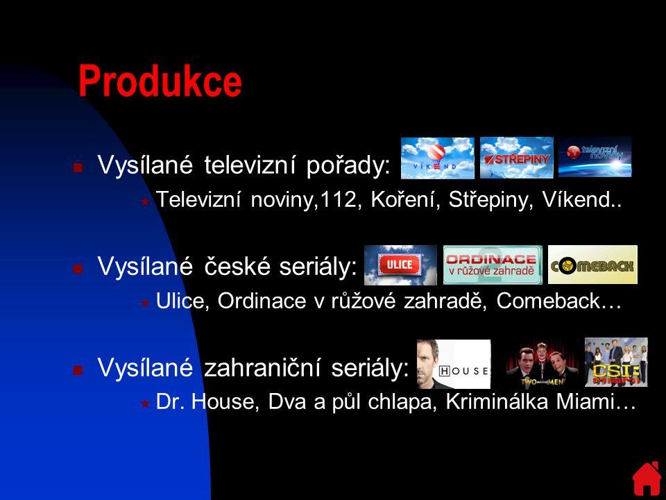 Produkce Vysílané televizní pořady:  Televizní noviny,112, Koření, Střepiny, Víkend..