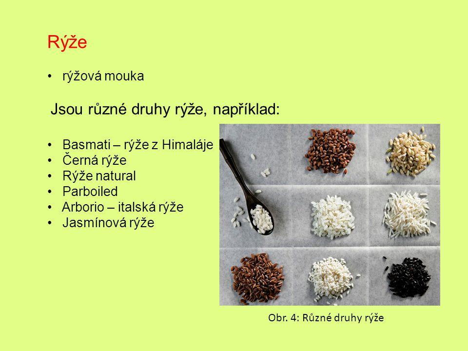 Rýže rýžová mouka Jsou různé druhy rýže, například: Basmati – rýže z Himaláje Černá rýže Rýže natural Parboiled Arborio – italská rýže Jasmínová rýže Obr.