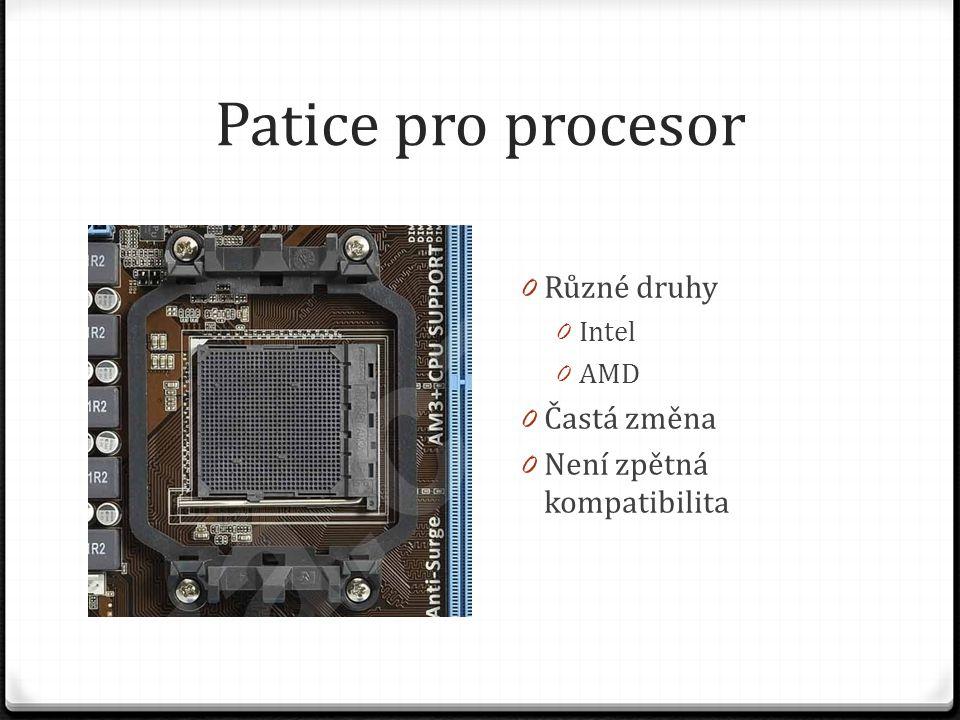 Patice pro procesor 0 Různé druhy 0 Intel 0 AMD 0 Častá změna 0 Není zpětná kompatibilita