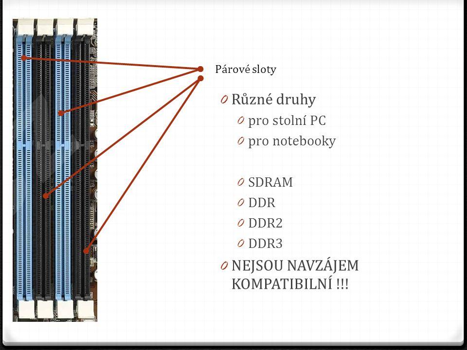 Párové sloty 0 Různé druhy 0 pro stolní PC 0 pro notebooky 0 SDRAM 0 DDR 0 DDR2 0 DDR3 0 NEJSOU NAVZÁJEM KOMPATIBILNÍ !!!