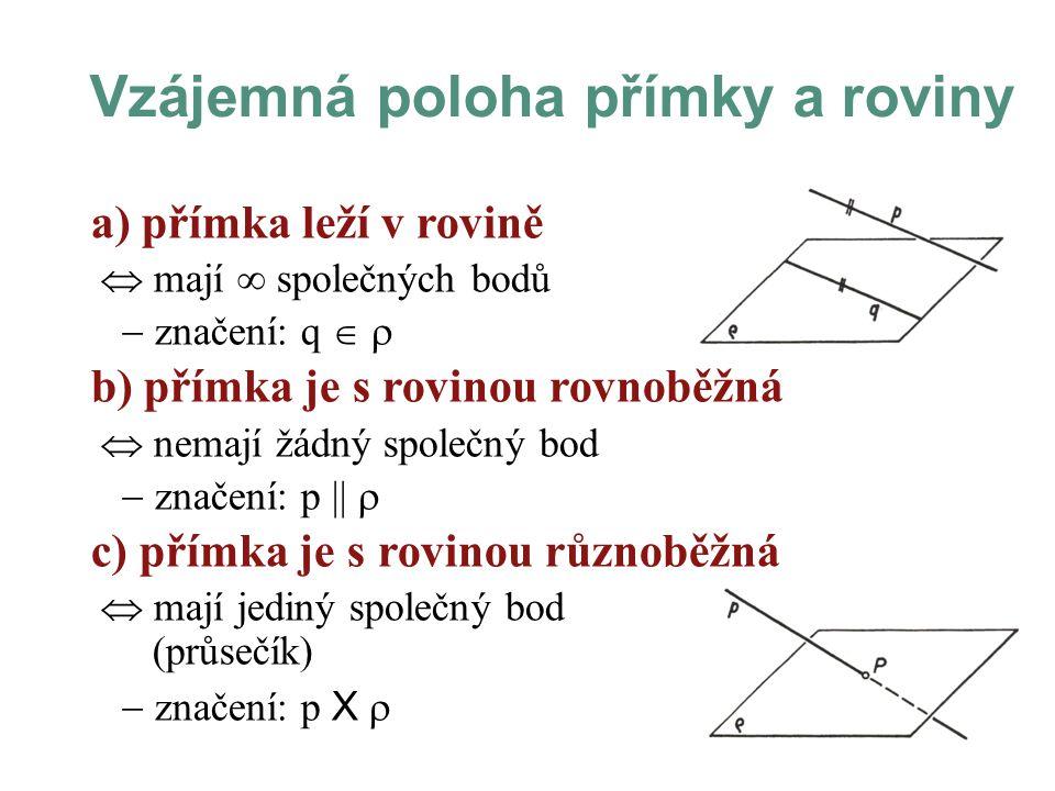 a) přímka leží v rovině  mají  společných bodů  značení: q   b) přímka je s rovinou rovnoběžná  nemají žádný společný bod  značení: p ||  c) přímka je s rovinou různoběžná  mají jediný společný bod (průsečík)  značení: p X  Vzájemná poloha přímky a roviny
