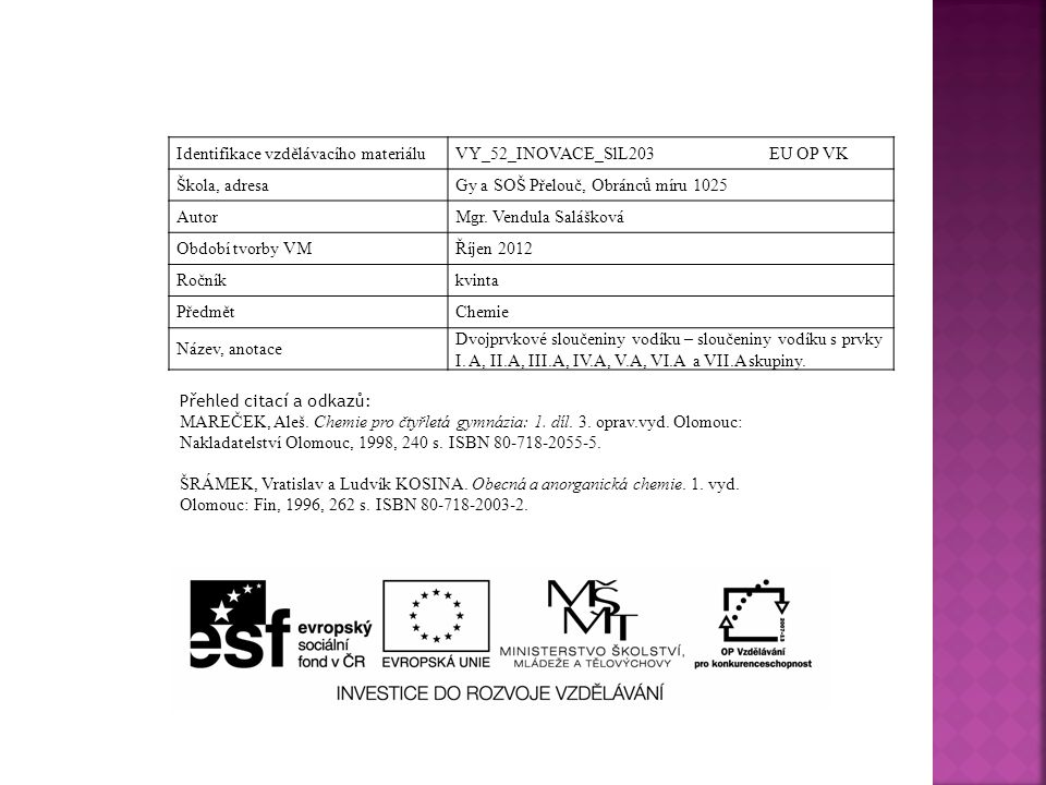 Identifikace vzdělávacího materiáluVY_52_INOVACE_SlL203 EU OP VK Škola, adresaGy a SOŠ Přelouč, Obránců míru 1025 AutorMgr.