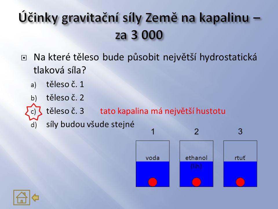  Na které těleso bude působit největší hydrostatická tlaková síla? a) těleso č. 1 b) těleso č. 2 c) těleso č. 3 d) síly budou všude stejné tato kapal