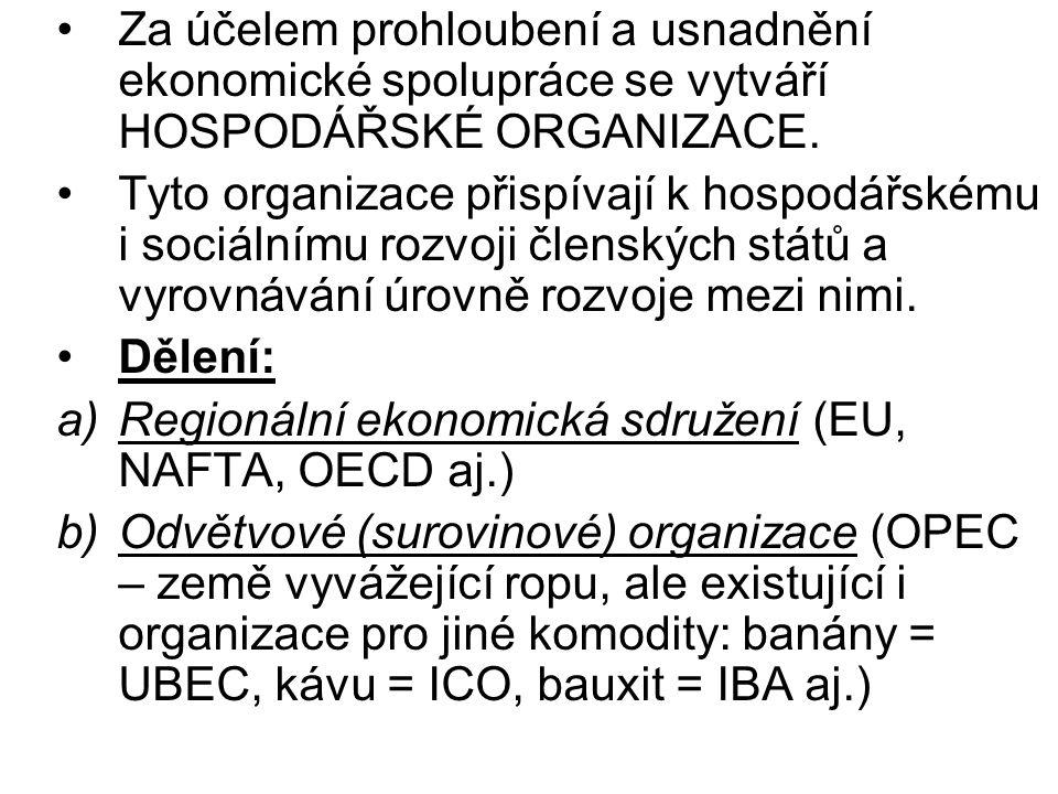 Za účelem prohloubení a usnadnění ekonomické spolupráce se vytváří HOSPODÁŘSKÉ ORGANIZACE. Tyto organizace přispívají k hospodářskému i sociálnímu roz