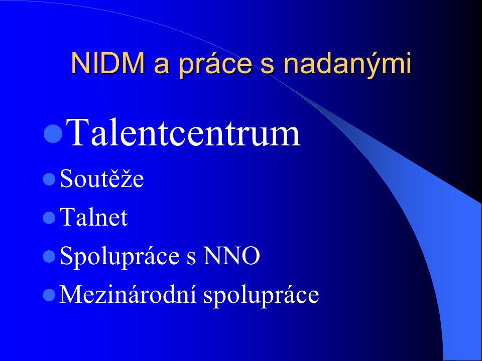 NIDM a práce s nadanými Talentcentrum Soutěže Talnet Spolupráce s NNO Mezinárodní spolupráce