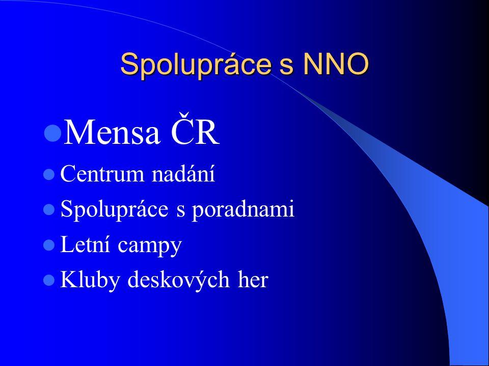 Spolupráce s NNO Mensa ČR Centrum nadání Spolupráce s poradnami Letní campy Kluby deskových her
