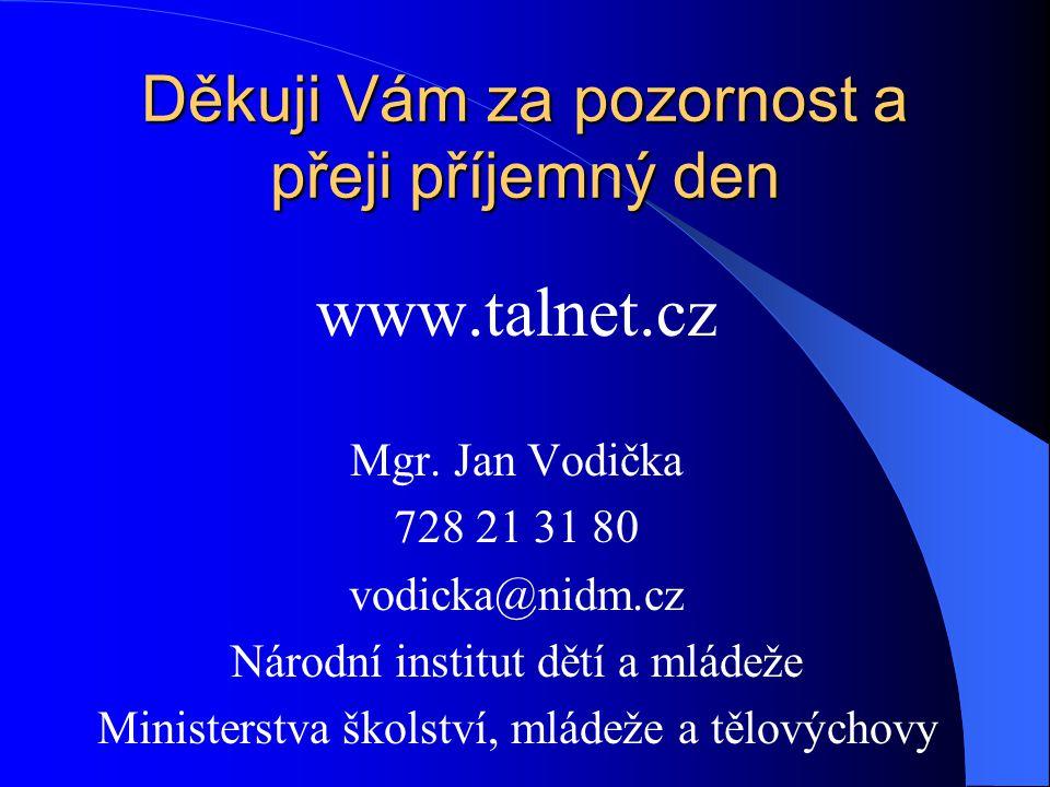 Děkuji Vám za pozornost a přeji příjemný den www.talnet.cz Mgr.
