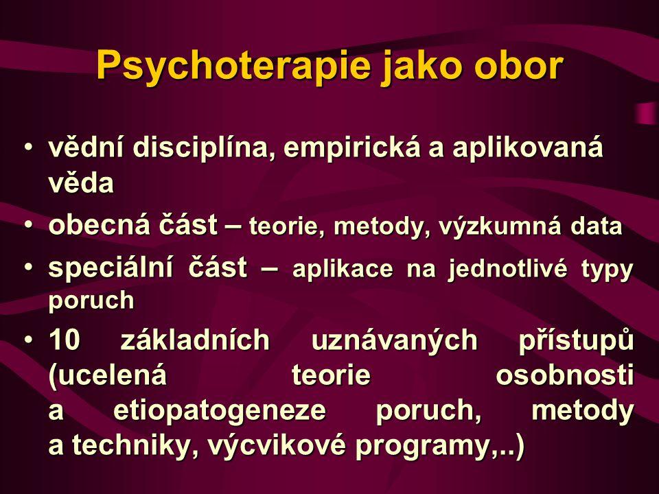 Psychoterapie jako obor vědní disciplína, empirická a aplikovaná vědavědní disciplína, empirická a aplikovaná věda obecná část – teorie, metody, výzku