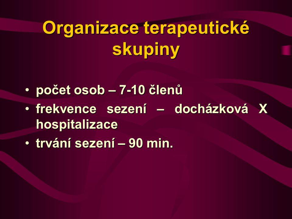 Organizace terapeutické skupiny počet osob – 7-10 členůpočet osob – 7-10 členů frekvence sezení – docházková X hospitalizacefrekvence sezení – docházková X hospitalizace trvání sezení – 90 min.trvání sezení – 90 min.
