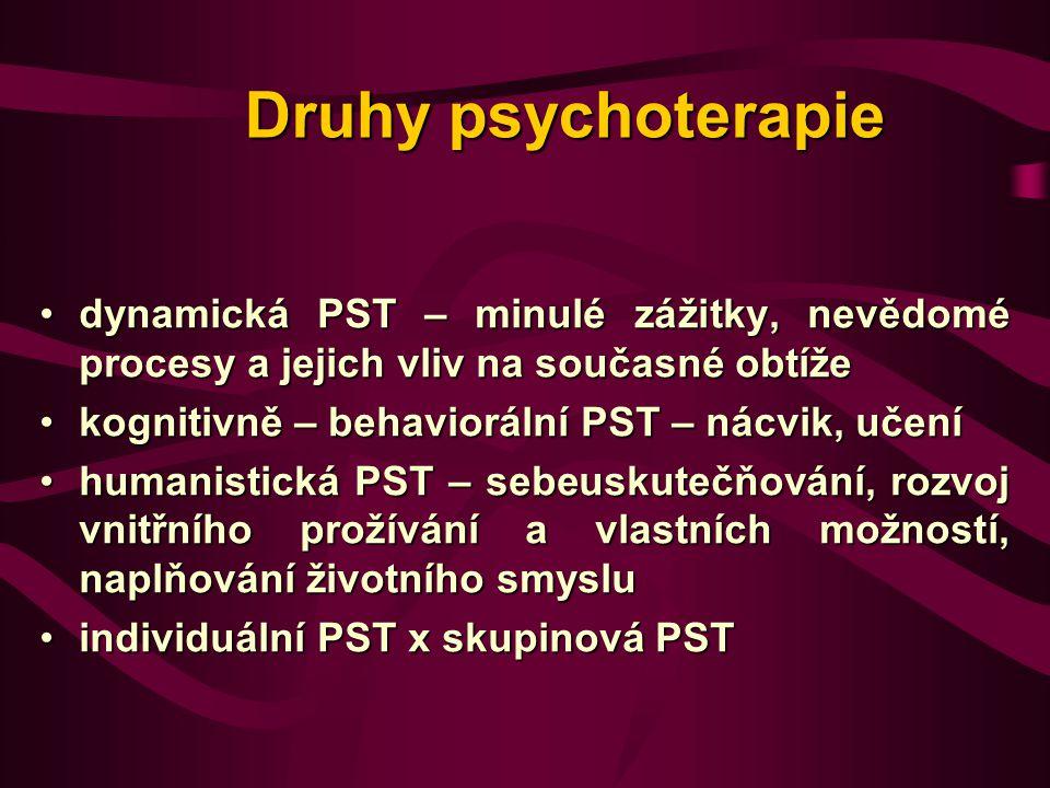 Společné faktory v různých PST směrech: 1.vztah mezi pacientem a terapeutem 2.