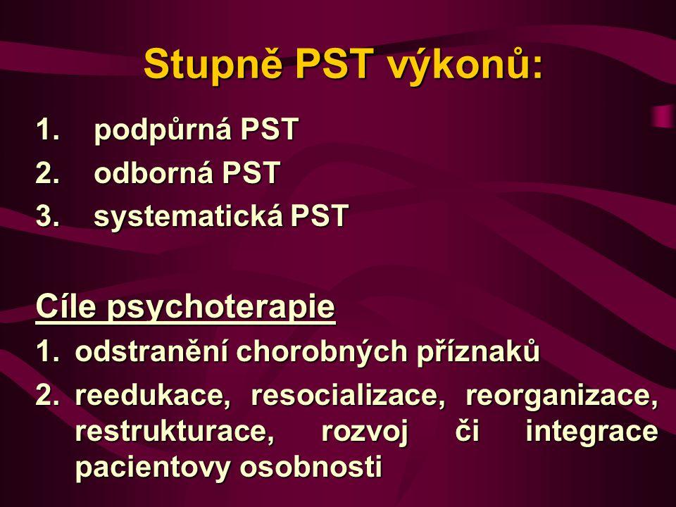 Stupně PST výkonů: Stupně PST výkonů: 1. podpůrná PST 2. odborná PST 3. systematická PST Cíle psychoterapie 1.odstranění chorobných příznaků 2.reeduka