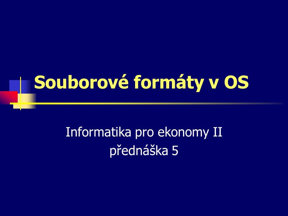 Souborové formáty v OS Informatika pro ekonomy II přednáška 5