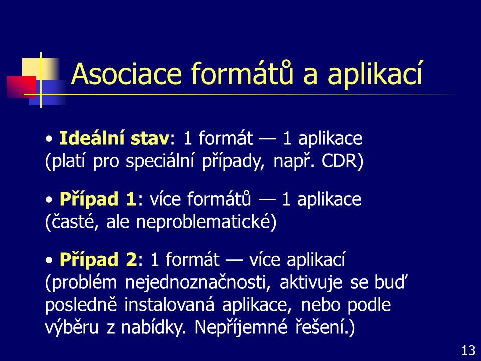 Asociace formátů a aplikací Ideální stav: 1 formát — 1 aplikace (platí pro speciální případy, např. CDR) Případ 1: více formátů — 1 aplikace (časté, a