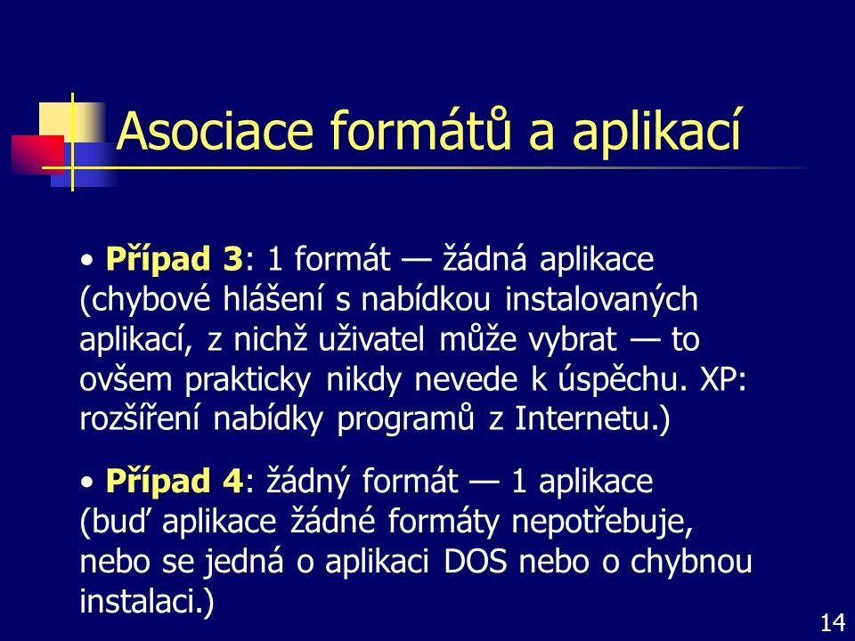 Asociace formátů a aplikací Případ 3: 1 formát — žádná aplikace (chybové hlášení s nabídkou instalovaných aplikací, z nichž uživatel může vybrat — to
