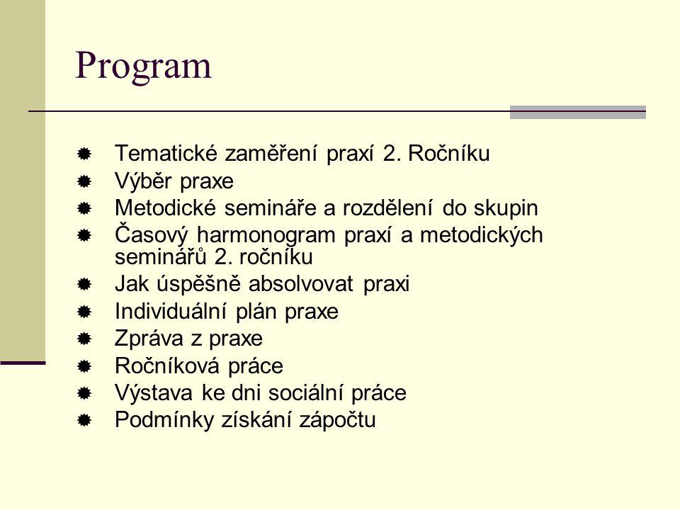 Program  Tematické zaměření praxí 2.