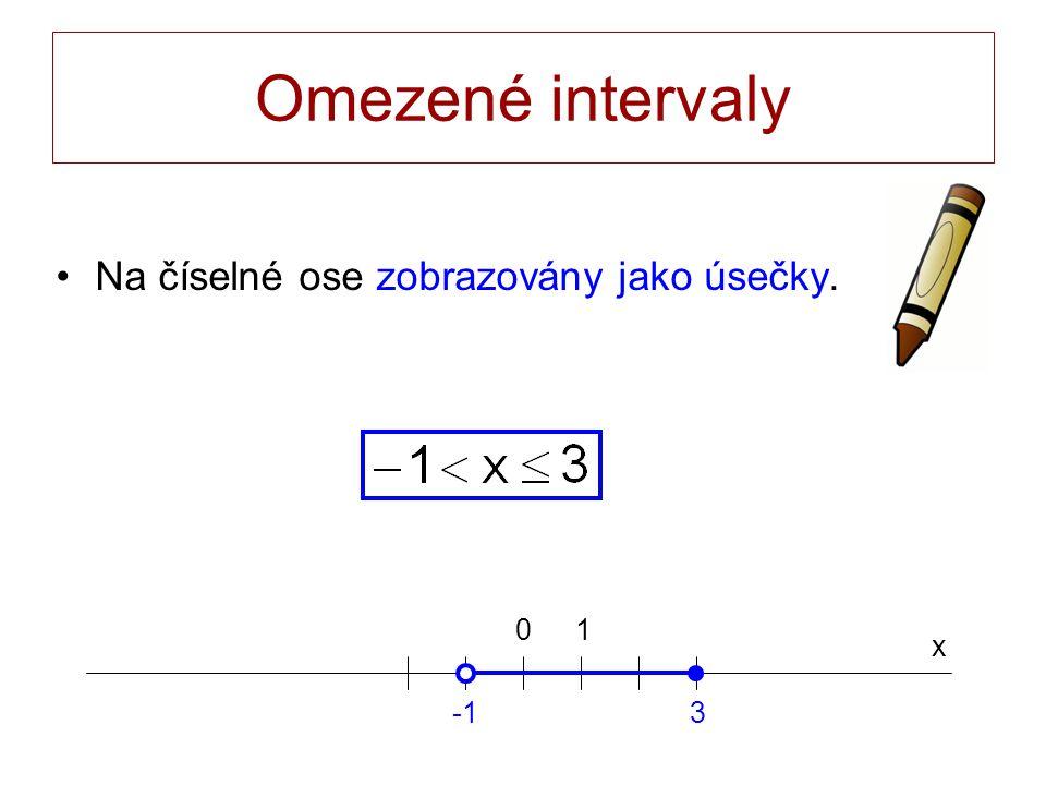 Omezené intervaly Na číselné ose zobrazovány jako úsečky. x 0 3 1