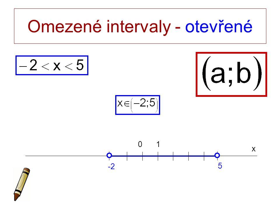 Omezené intervaly - otevřené x 0 -2 5 1