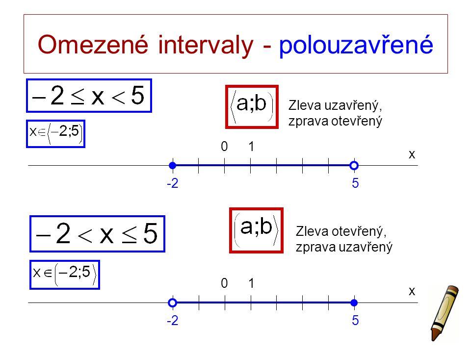 Omezené intervaly - polouzavřené x 0 -25 1 x 0 5 1 Zleva uzavřený, zprava otevřený Zleva otevřený, zprava uzavřený