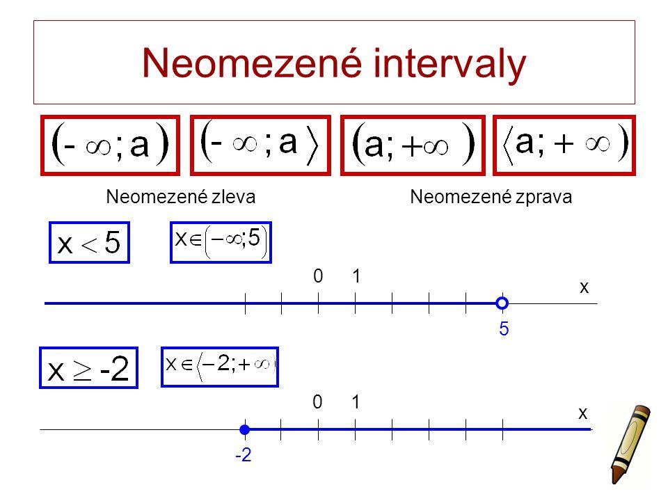 Neomezené intervaly x 0 5 1 x 0 -2 1 Neomezené zlevaNeomezené zprava