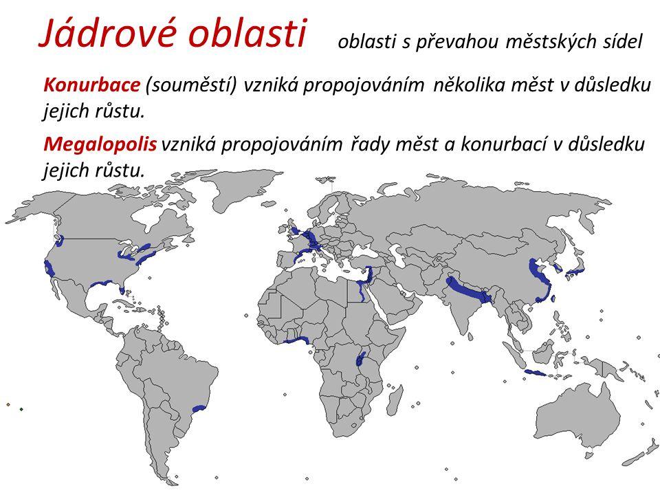 Jádrové oblasti oblasti s převahou městských sídel Konurbace (souměstí) vzniká propojováním několika měst v důsledku jejich růstu.