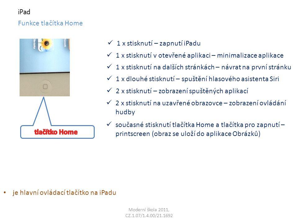 Moderní škola 2011, CZ.1.07/1.4.00/21.1692 iPad Funkce tlačítka Home - printscreen současné stisknutí tlačítka Home a tlačítka pro zapnutí – printscreen (obraz toho, co je momentálně na obrazovce se uloží do aplikace Obrázky)