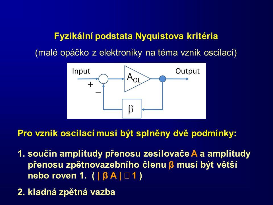 Fyzikální podstata Nyquistova kritéria (malé opáčko z elektroniky na téma vznik oscilací) Pro vznik oscilací musí být splněny dvě podmínky: 1.součin a