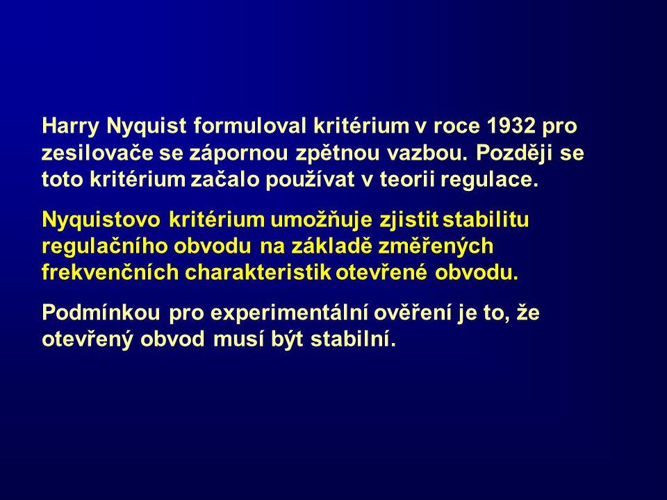 Harry Nyquist formuloval kritérium v roce 1932 pro zesilovače se zápornou zpětnou vazbou. Později se toto kritérium začalo používat v teorii regulace.